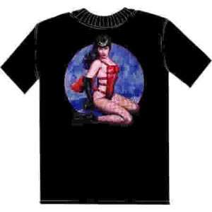 Bettie Page as Pony Girl with Art By Olivia T Shirt MD