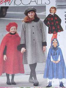 McCALLS #7359 GIRLS WINTER COAT, CAPE AND HAT PATTERN