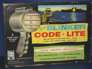 Navy BLINKER CODE LITE Battery Op Toy Hasbro 1950s MIB