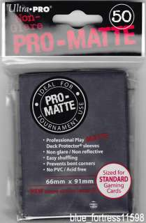 PRO MATTE BLACK DECK PROTECTORS CARD SLEEVES MTG WoW