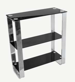 TIER TV DVD BLACK GLASS TABLE SHELF STAND UNIT H 80CM