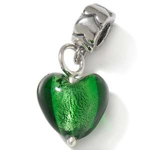 Bacio Green Murano Glass Heart Dangle Charm