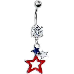 Patriotic Stars Dual Gem Belly Ring Jewelry