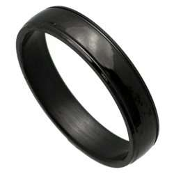 Black Line Stainless Steel Band Ring Jewelry