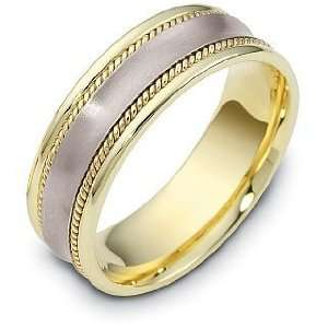 Rope Style 18 Karat Yellow Gold & Titanium 7mm Wedding Band   11