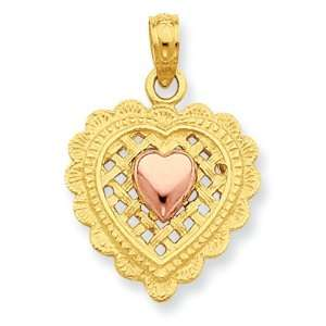 14k Gold Two tone Pink Heart on Basket Weave Heart Pendant Jewelry