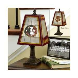 FLORIDA STATE FSU SEMINOLES Team Logo Hand Painted ART GLASS TABLE