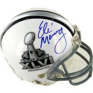 Manning Autographed Super Bowl XLVI Mini Helmet Sports Collectibles