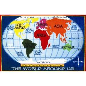 Kids World Map Multi Colored Area Rug   8 x 11