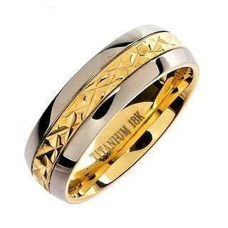 7MM Mens 14K Gold Plated Stainless Steel Ring Size 8 Jewelry