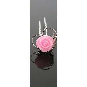 Pink Rose Flower Heart Crystal Rhinestone Hair Pin Bridal