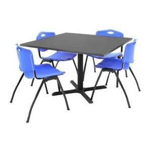 42 Square Table W/ Plastic Chairs   Gray / Blue