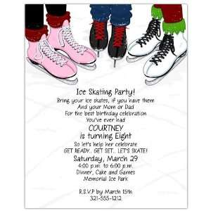 Childrens Birthday Party Invitations   Ice Skates 8.5 x