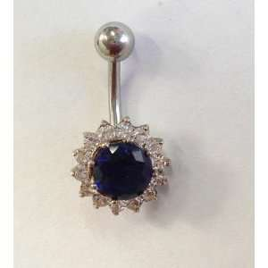 Royal Blue Gem Silver Belly Ring