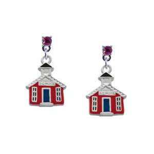 Red School House Hot Pink Swarovski Post Charm Earrings