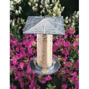 Pewter Silver 12 in. Dragonfly Tube Bird Feeder Patio