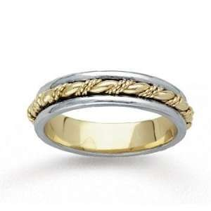 14k Two Tone Gold Grand Rope Hand Carved Wedding Band Jewelry