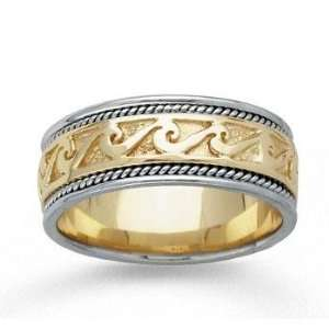 14k Two Tone Gold Classical Style Hand Carved Wedding Band Jewelry