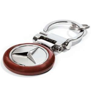 Mercedes Benz Burl Wood Finish Key Chain, Genuine Product Automotive