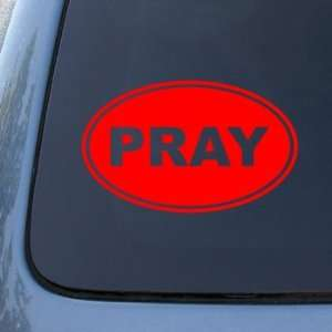 PRAY EURO OVAL   God Jesus Christian Mormon   Vinyl Car Decal Sticker