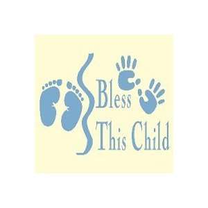 Dark Blue Bless This Child Vinyl Wall Art