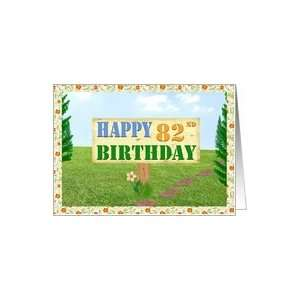Happy 82nd Birthday Sign on Footpath Card  Toys & Games