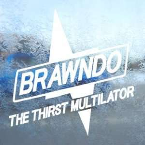 BRAWNDO White Decal BOLT IDIOCRACY SPORTS DRINK Car White