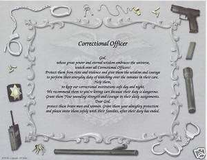 CORRECTIONAL OFFICER Poem Personalized Name Print Praye