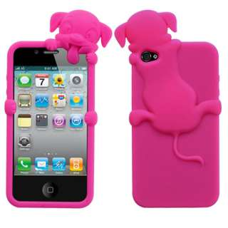 HOT PINK PUPPY DOG LOVE SILICONE SOFT SKIN RUBBER COVER CASE FOR